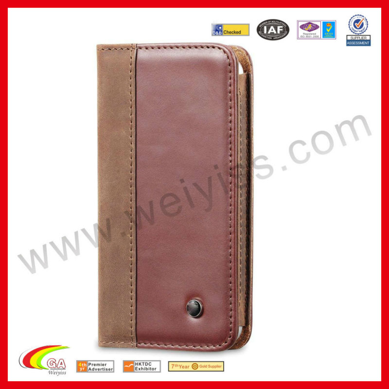 for iPhone 5 Genuine Leather Wallet Case Vintage Brown