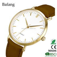 Gold color light brown sapphire crystal 30m waterproof men leather quartz watch