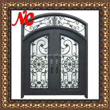 Entry Forged Iron Doors Art Design With Transom