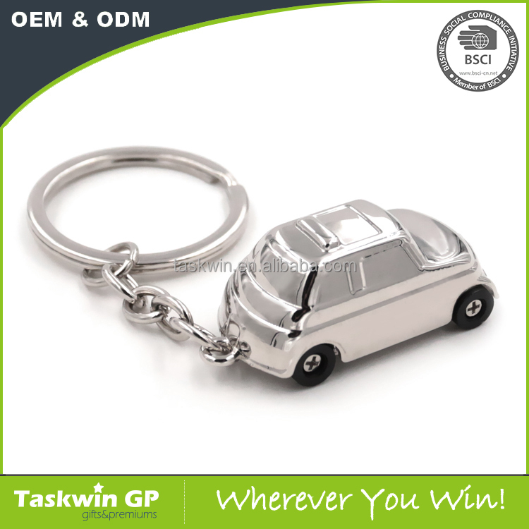 Cheapest Promotional Customized car shaped metal Keychain with key ring