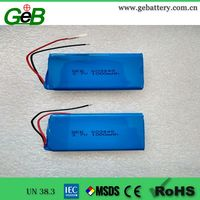 GEB 3.7V 1000mAh 603448 aluminum case lithium polymer rechargeable battery with wire and PCB