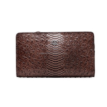 New design funky ostrich leather men long wallet on alibaba at low price