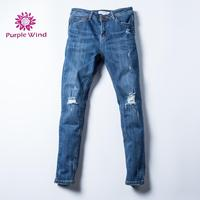 Women fashion new style skinny denim jeans with ripped basic pants