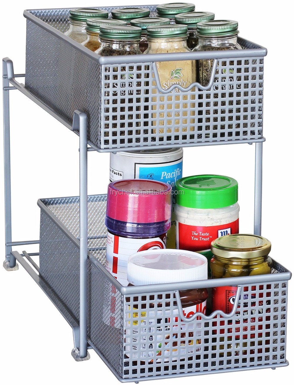 Two Tier Mesh Cabinet Basket Organizer Drawer /kitchen cabinet metal drawers