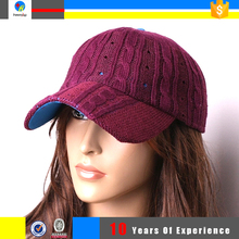 wholesale soft knit baseball cap pattern hats for women knitted