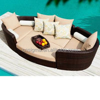 2015 Sigma New design all weather outdoor rattan wicker round dimensions portable sun lounger SG-506A
