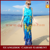 Sexy Women Pattern Printed Casual Summer Ruffles Long Maxi Dress Chiffon Dresses