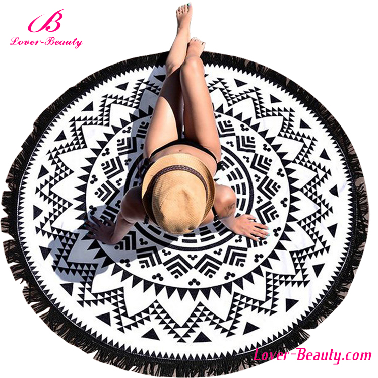 China wholesale black and white round donut printed beach <strong>towel</strong> round