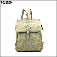 Elegance lady custom crocodile leather shopping bags women backpack