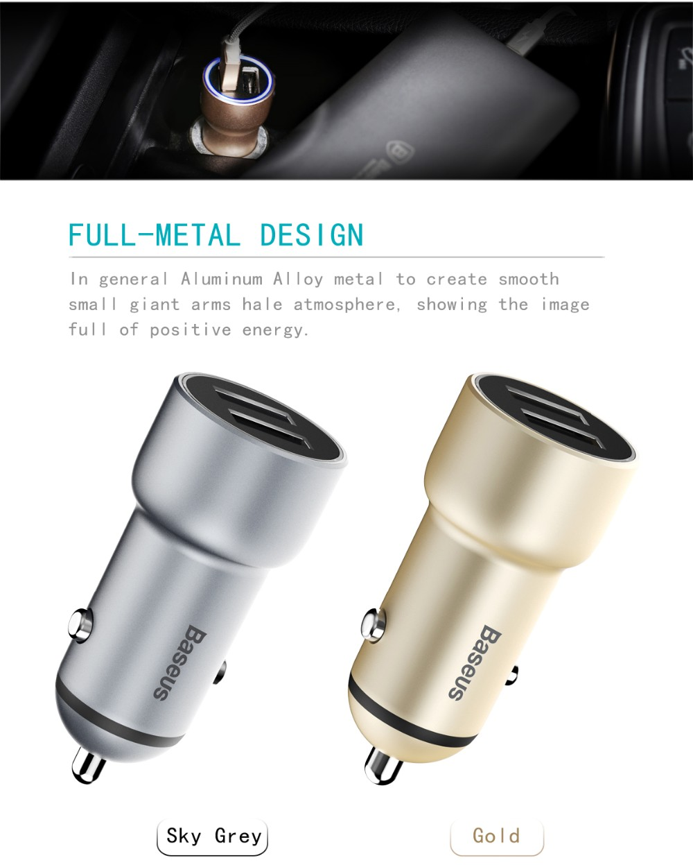 Baseus Little Giant Series 3.4A Quick Charge Metal Dual USB Car Charger