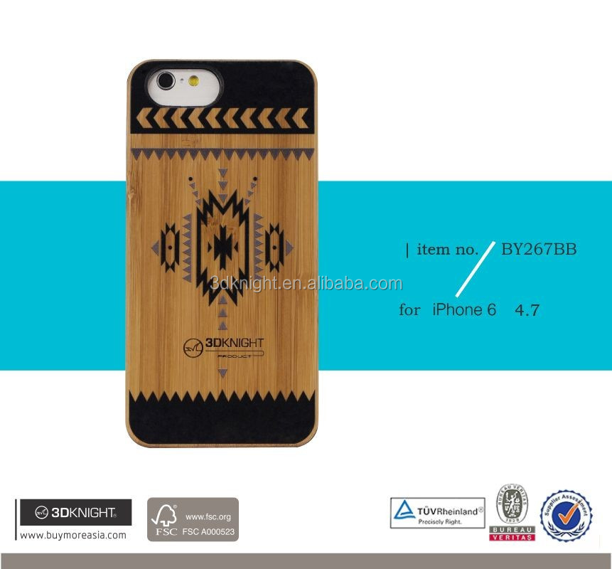Mobile accessories laser engraving custom design wooden case for iphone 6 phone case wood