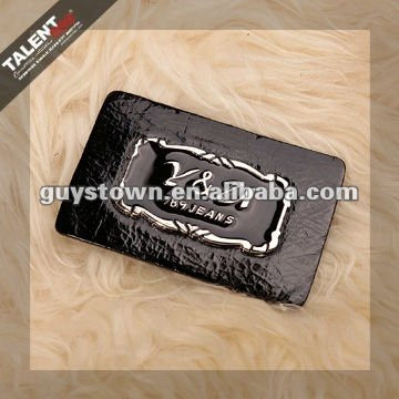 custom die-casting metal brand logo back leather label patch for jeans