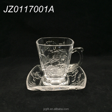 High quality beautiful square design glass tea cup&saucer, tea cup and saucer wholesale, turkish coffee cups with handle