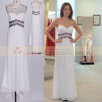 Freeshipping AO62390 Chaozhou Simple Sweetheart White Chiffon Maxi Long Prom dress with low back 2015