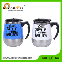 custom double wall 304 stainless steel self stirring coffee mug with special handle