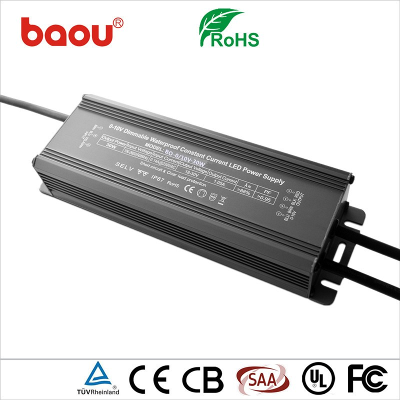 Baou 0-10V DC24V 2.5A 30W Dimming LED Driver Power Supply IP67