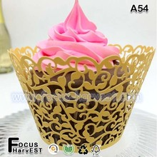 A54 laser cut cupcake wrappers 2015 hot sale gold silver pink colorful muffin paper cup decoration
