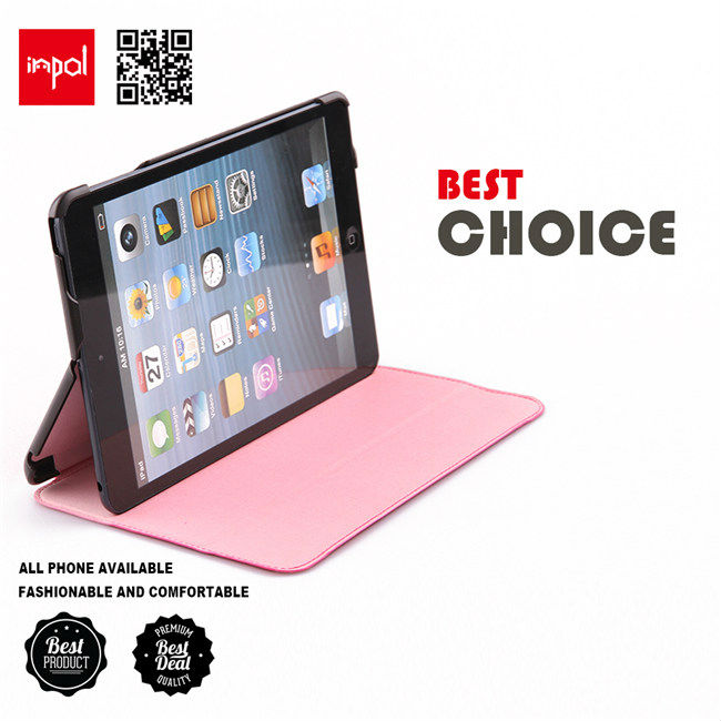 Original leather case for ipad mini tablet accessories with three paneled folding stand function