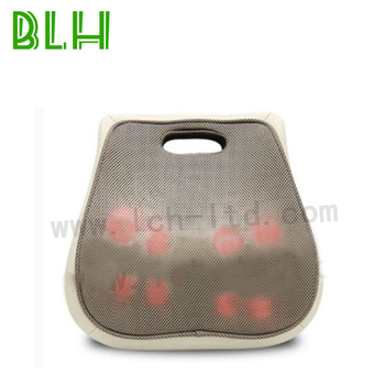 Chair back support cushion electric heated rolling shiatsu kneading back massager