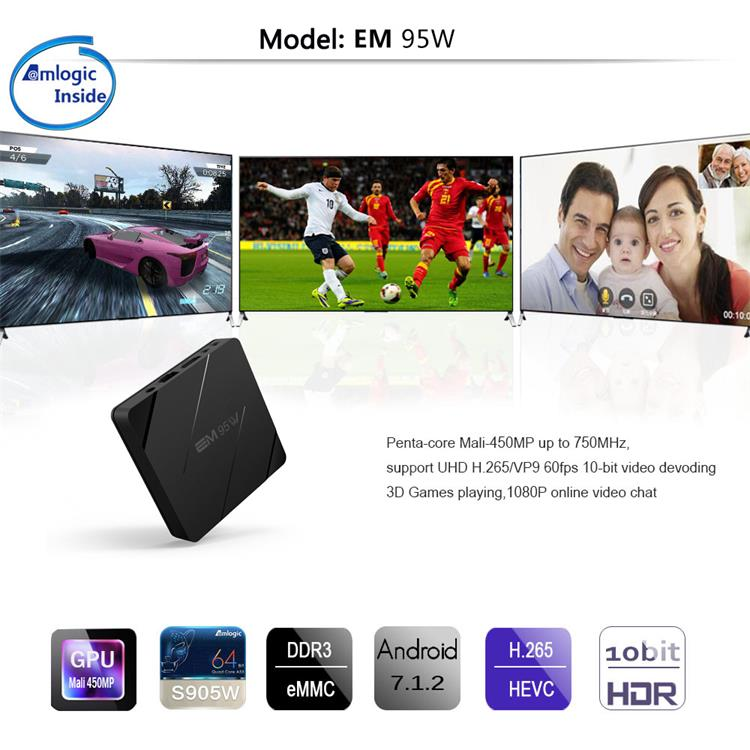EM95W Quad Core Amlogic S905W Android 7.1 Nougat WIFI 4K Smart Box with Kodi 2017 Best Google TV Box Android 7.0