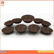 Round PP rattan baskets with metal frame in supermarket