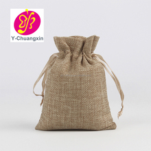 Personalized with your logo print any color custom Jute burlap drawstring jewelry bag packaging chic drawstring pouch