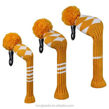 Factory customized multi-color knitted golf putter head cover with pom pom