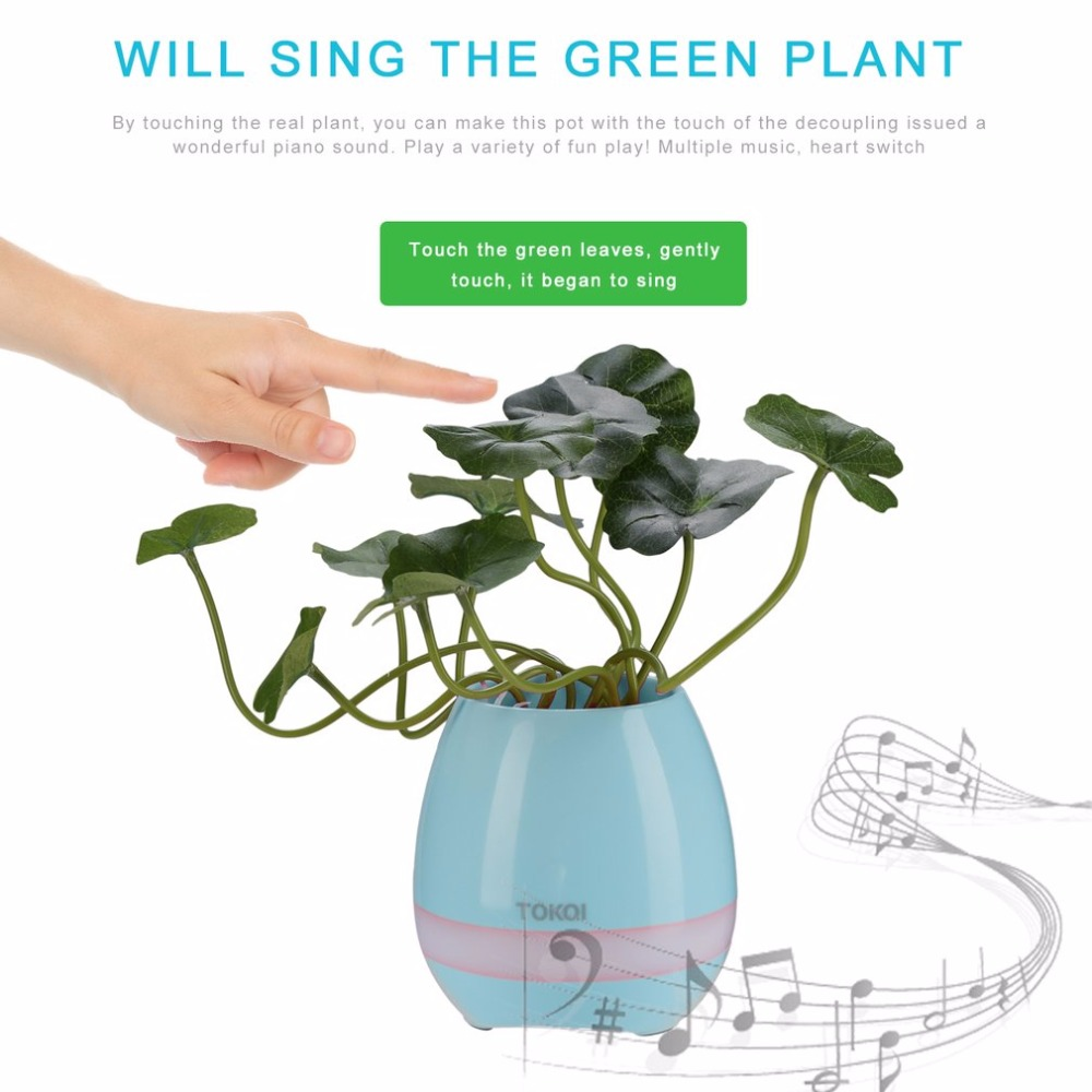 Smart Music Flowerpot Wireless Bluetooth Speaker 3D Stereo Sound Music Mini Speaker With Light Touch Plant Can Sing Song Speaker