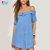 Yihao 2017 Highly Recommended New Summer Hot Sale Women Fashion Slim off shouder Short Sleeve Denim Dress