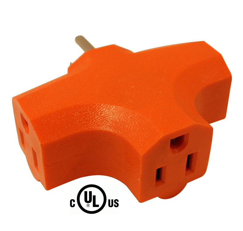 3 Way Outlet Wall Plug Adapter 3 Prong T Shaped Wall Tap