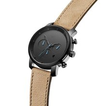 Genuine Tan Leather Strap PVD Black Mens Chronograph Watch