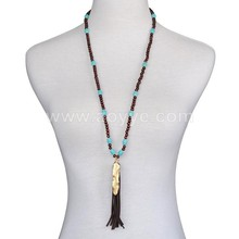 Wholesale national wind long turquoise tassel feather wood bead necklace