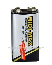 long life 9V 6F22 zinc carbon primary dry cell battery