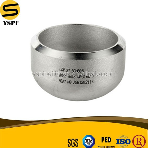 Stainless Steel Pipe Fitting Seamless Butt Welding BW Sch40S Sch80S 4 Inch Round Cap Pipe Fittings