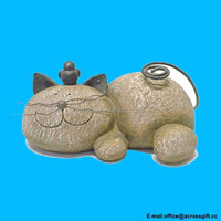 Resting Cat Stone Whimsical Garden Accent-Lightweight Resin