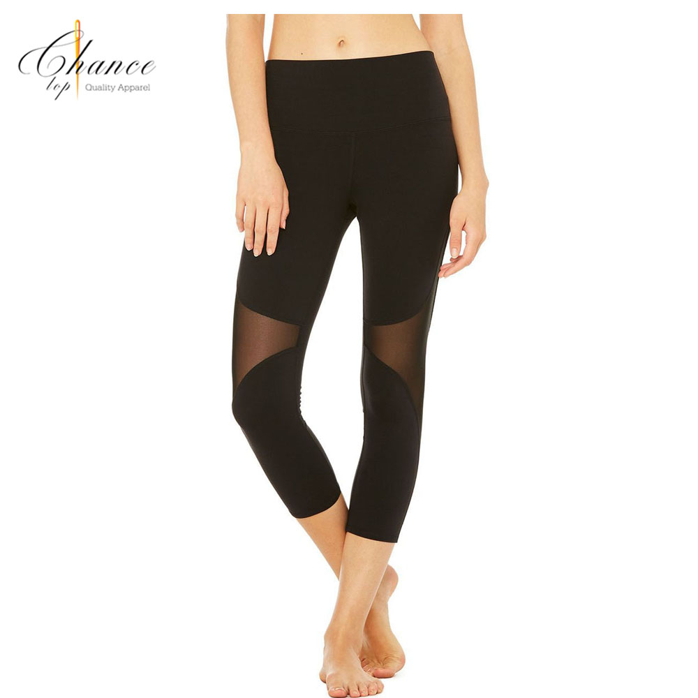 H-1711C12 Fsshion Mesh Insert Stepping Foot Fitness Tights Women Wholesale Yoga Pants