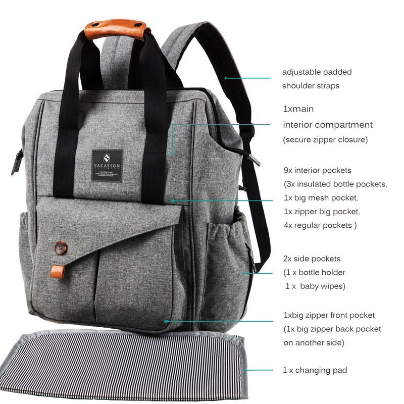 2017 new vacation mom bag with leather handle and various pocket diaper backpack