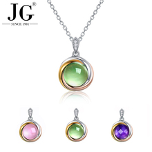 Natural green grape stone pendant female elegant necklace 925 sterling silver jewelry gold plated