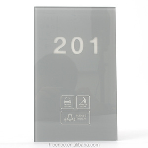 Grey Crystal Glass Led Wall Touch Control House number doorplate