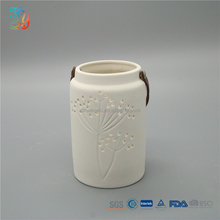 Modern white matt ceramic candle lantern holder for decoration