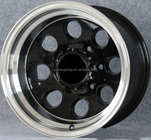 good quality 15 inch 10 black machine lip alloy wheel/rim for car