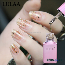 High quality UV LED lamp 15 color 6ML Pink bottle bright sequined gel nail polish