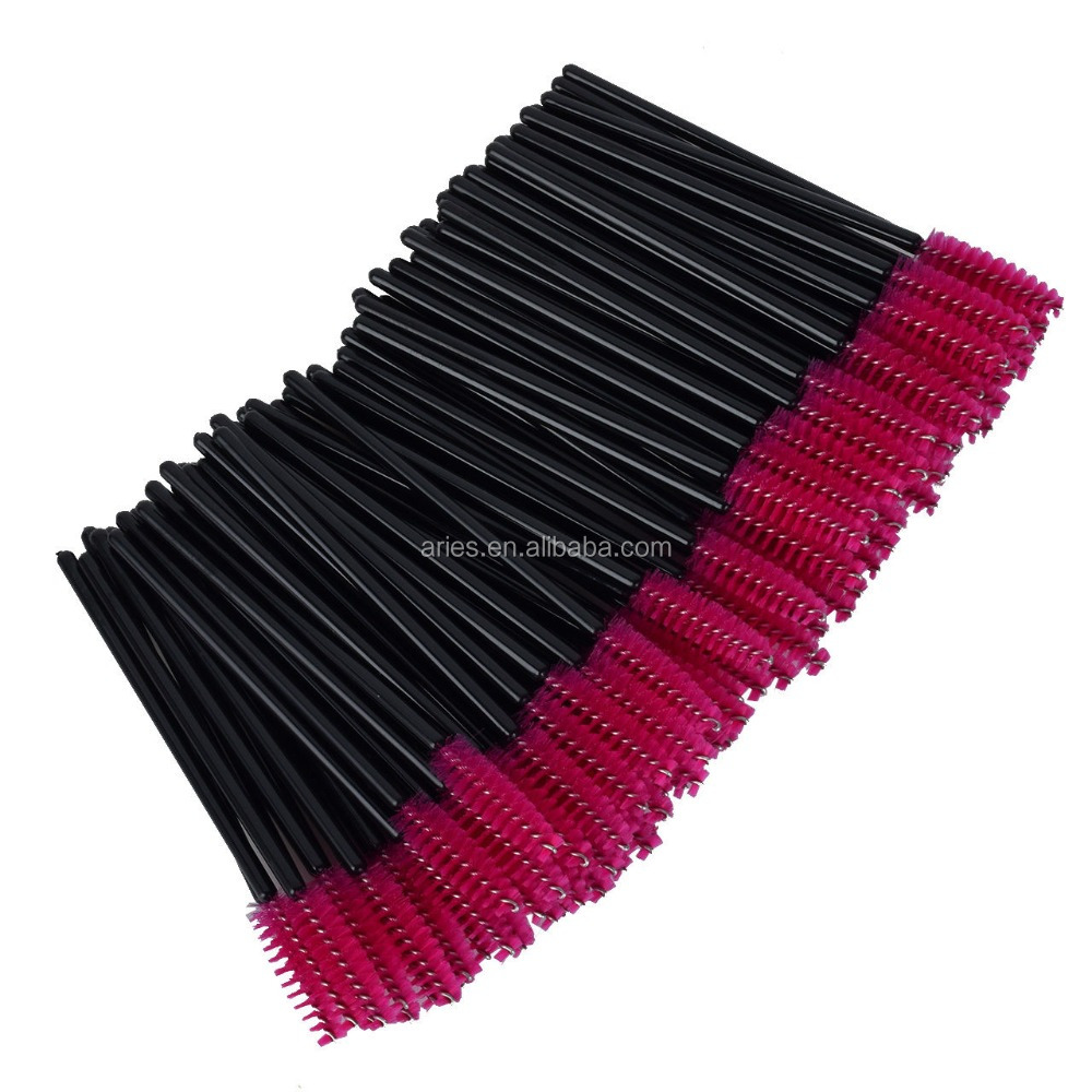 Makeup Brush , Sandistore 100pcs/lot make up brush Pink synthetic fiber One-Off Disposable Eyelash Brush Mascara Applicator Wand