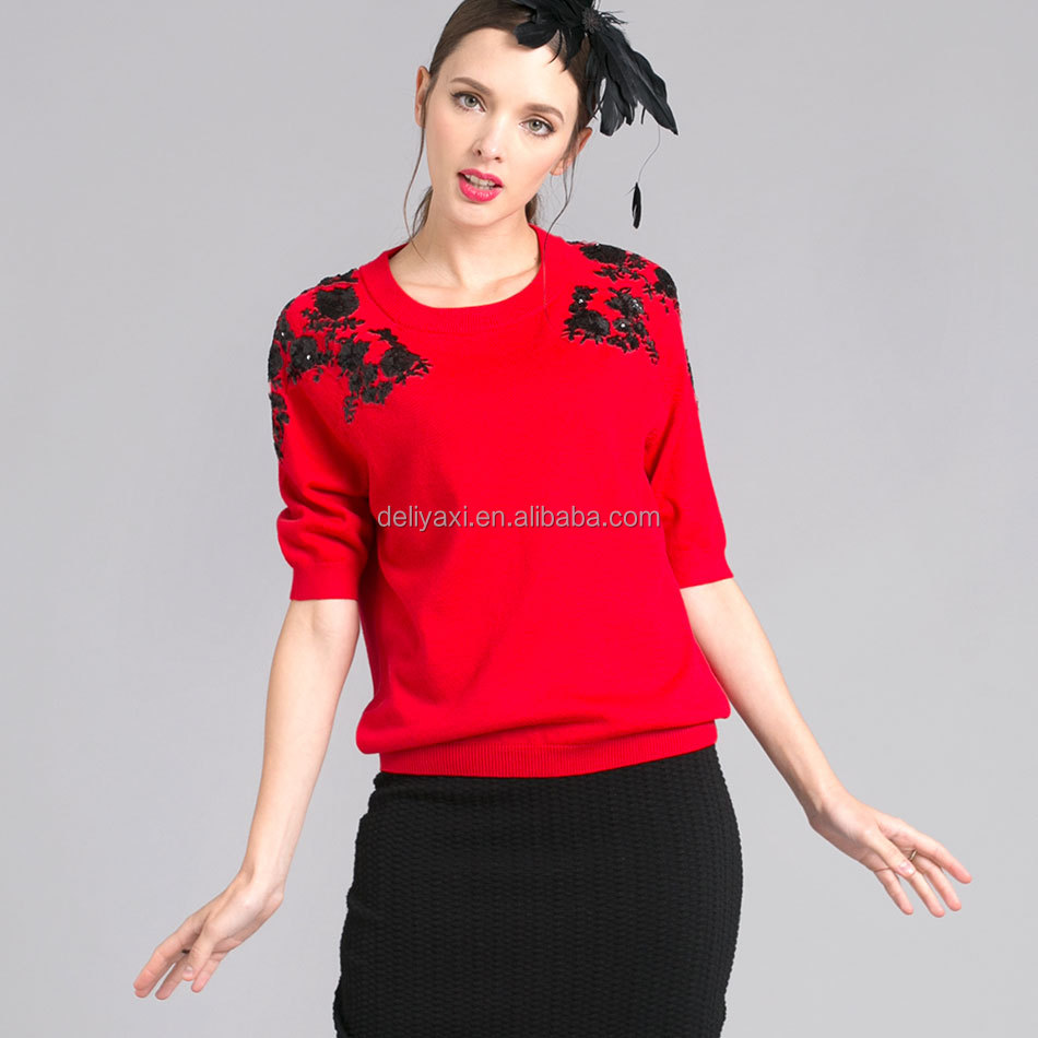 applique sequins floral pullover sweaters red color mix wool cashmere knitting sweater big brand celebrity outwear sweater