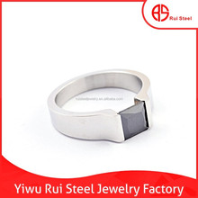 wholesale fashion stainless steel single black stone men rings jewelry
