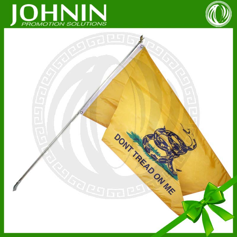 3' x 5' Nylon w 6' Pole 120gsm knitted polyester Don't Tread On Me custom flag