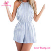 Fashion White Blue Stripped Round Summer Jumpsuit Kaftan Dress