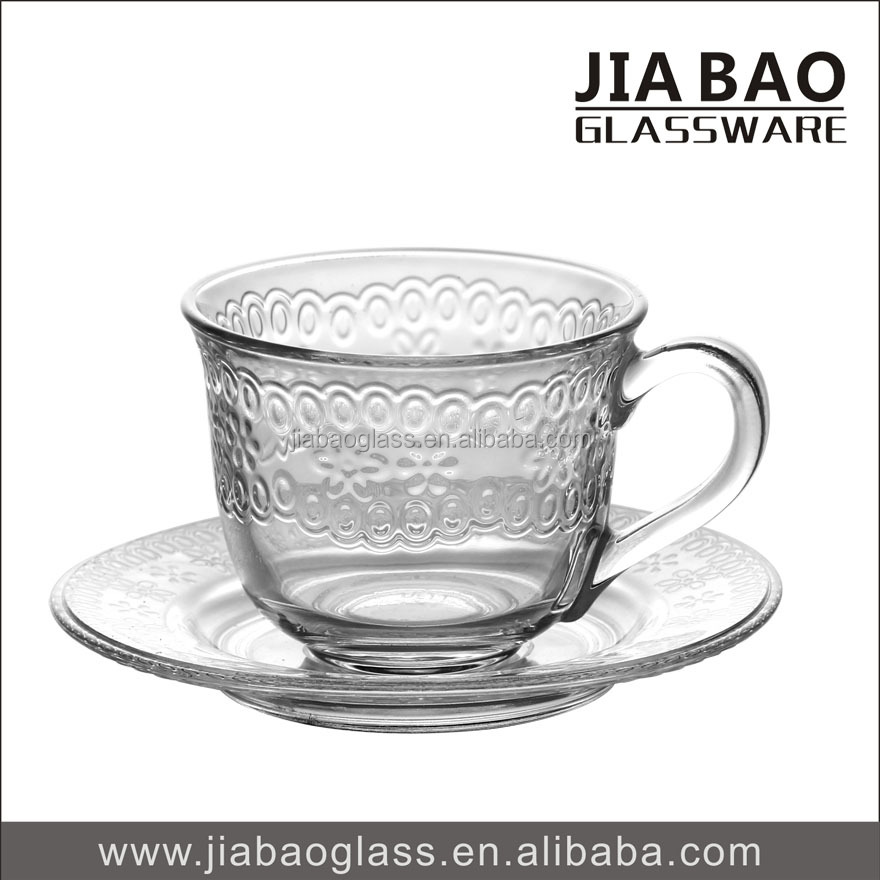 Flower Design 200ml Clear Glass Cup and Set, Factory Cheap Price