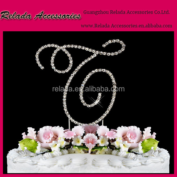 Custom-made Rhinestone Diamond Monogram Mr & Mrs Golds silver letter and number Wedding Decoration Cake Topper for sale