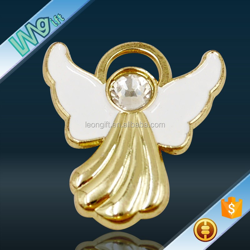 Custom angel lapel pin with crystal
